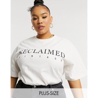 リクレイム ヴィンテージ レディース シャツ トップス Reclaimed Vintage Inspired plus logo t-shirt in cream