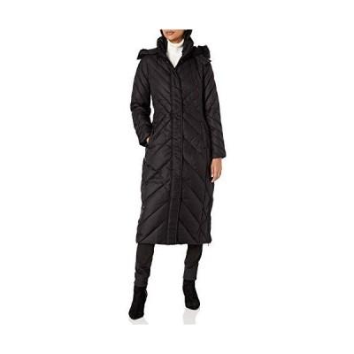 LARRY LEVINE Women's Chevron Stitched Maxi Puffer W/Detachable Faux-Fur Tri