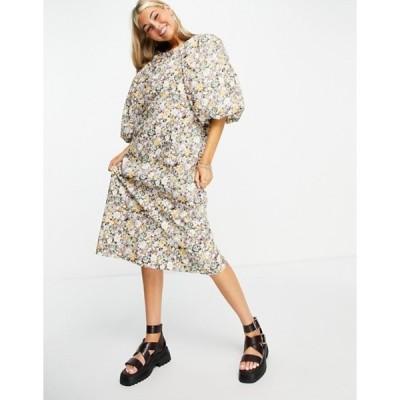 オブジェクト レディース ワンピース トップス Object exaggerated sleeve midi dress in floral print