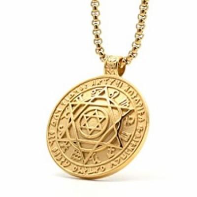 Lemu Jewelry Mens Stainless Steel Talisman Pentacle of Solomon Seal Pendant Hermetic Enochian Kabbalah Wiccan Necklace