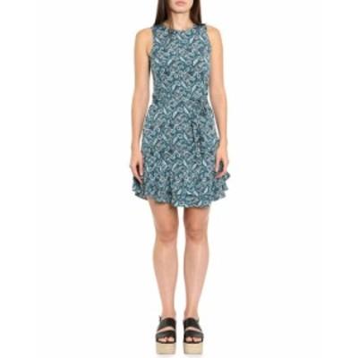 マイケルコース レディース ワンピース トップス Arabesque Paisley Ruffle-Hem Sleeveless Dress BLUE