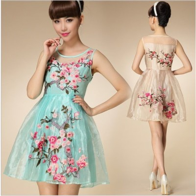 大人上品 贅沢花柄刺繍 オーガンジー ドレス ワンピース