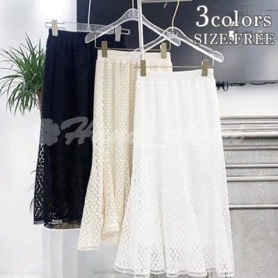 可愛い フレア スカート ロング丈 ふわふわ レトロ ガーリー ブラック ベージュ ホワイト ボトムス レディース