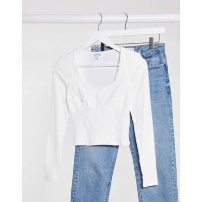 モンキ レディース シャツ トップス Monki Vinnie organic cotton seam detail jersey top in off white