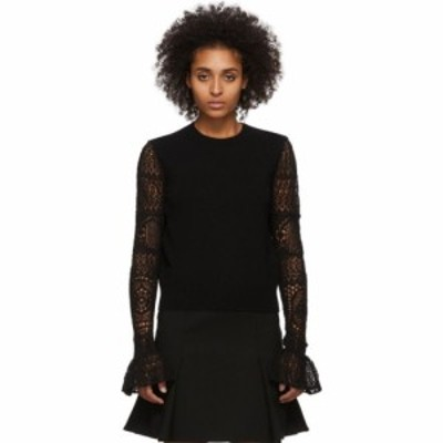 アレキサンダー マックイーン Alexander McQueen レディース ニット・セーター トップス black wool lace crewneck sweater Black