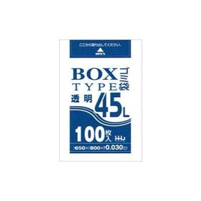 BOX入ポリ袋 45L LLDPE 0.03×650×800mm 透明 100枚×6箱入(600枚) BL43