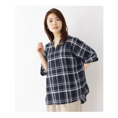 サンカンシオン レディース 3can4on(Ladies) 【洗濯機OK】リネン混ビッグスキッパーシャツ (ネイビー)