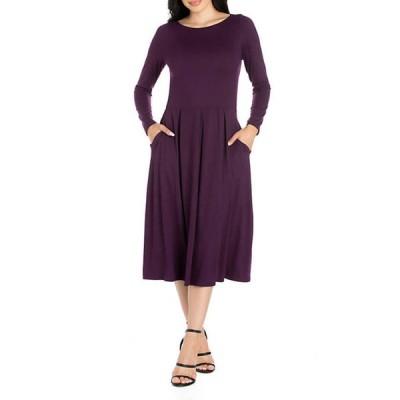 24セブンコンフォート レディース ワンピース トップス Women's Long Sleeve Fit and Flare Midi Dress