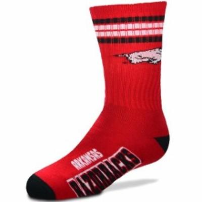 For Bare Feet フォー ベア フィート スポーツ用品  For Bare Feet Arkansas Razorbacks Youth 4-Stripe Deuce Quarter-Length Socks