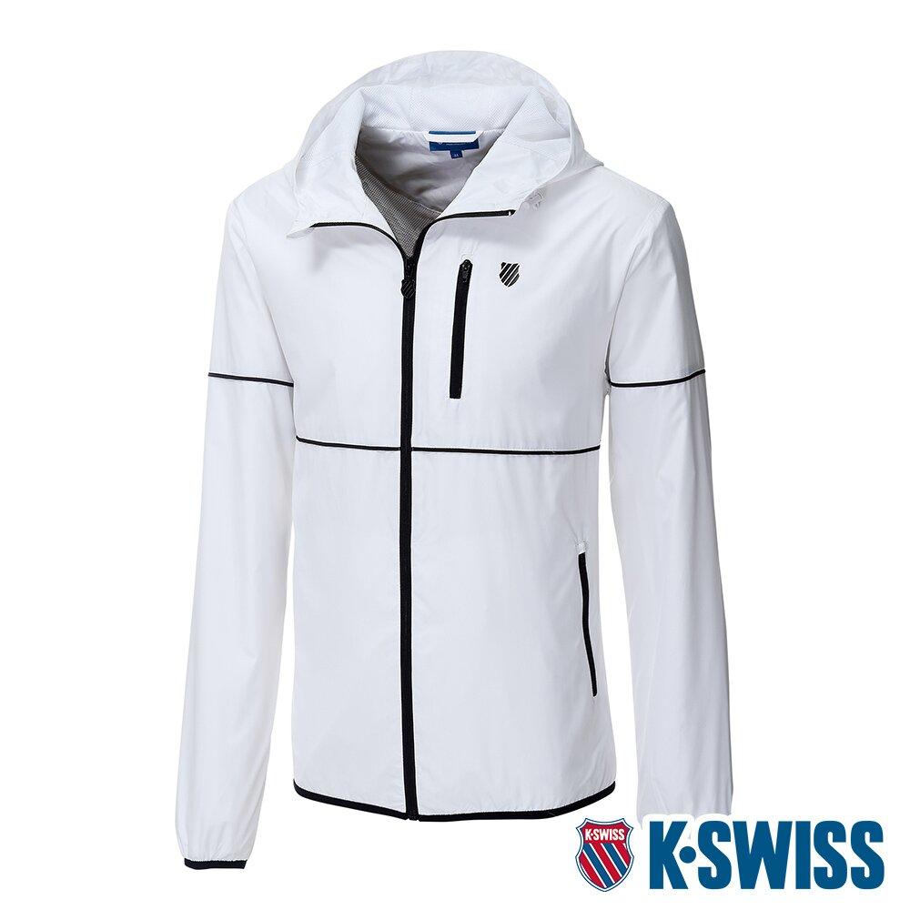 K-SWISS Color Trims Jacket抗UV防風外套-男-白