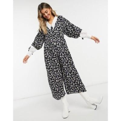 エイソス レディース ワンピース トップス ASOS DESIGN smock jumpsuit in floral print Floral print