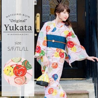 京都きもの町オリジナル 浴衣単品「ピンクにカラフル水風船」レトロ 女性浴衣 綿浴衣 花火大会、夏祭り、夏フェスにss2006ykl30