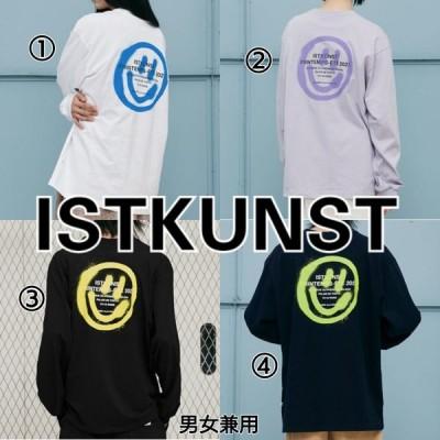 イストクンスト ISTKUNST ロゴ スマイリー ロンT 紺 黒 紫 白 メンズ レディース 韓国ブランド