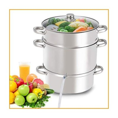 [新品]Giantex 11 Quart Juice Steamer Fruit Vegetables Juicer Steamers w/ Tempered Glass Lid, Hose, Clamp, Loop Handles Stainless Steel