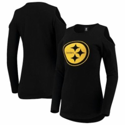 Forever Collectibles フォーエバー コレクティブル 服 スウェット Pittsburgh Steelers Womens Black Cold Shoulder