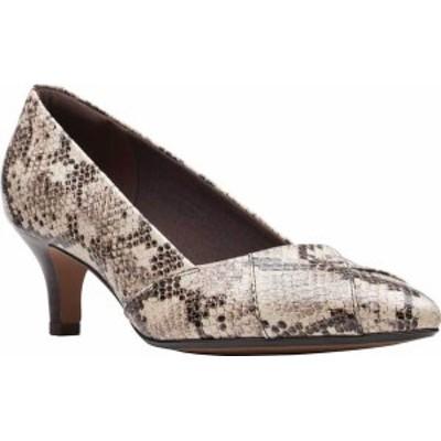 クラークス レディース パンプス シューズ Women's Clarks Linvale Sage Pointed Toe Pump Taupe Snake Full Grain Leather