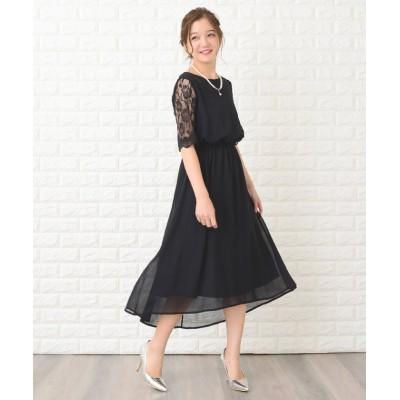 【レースレディース】 花柄袖レースフィッシュテールフォーマルワンピースドレス レディース ブラック XL Lace Ladies