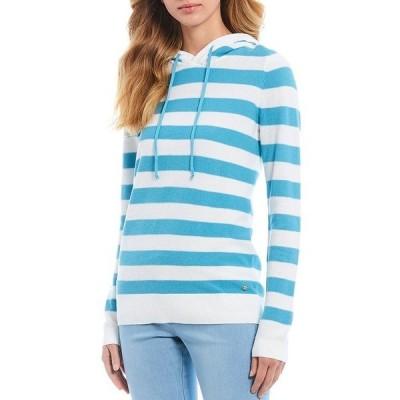 サウザーンタイド レディース ニット&セーター アウター Luis Stripe Hooded Cotton Blend Sweater Maui Blue