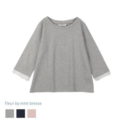 セール品L〜5L 変形ネック袖レースプルオーバー fleur by mint breeze ミントブリーズ  婦人服 ファッション 30代 40代 50代 60代 ミセス 返品交換不可