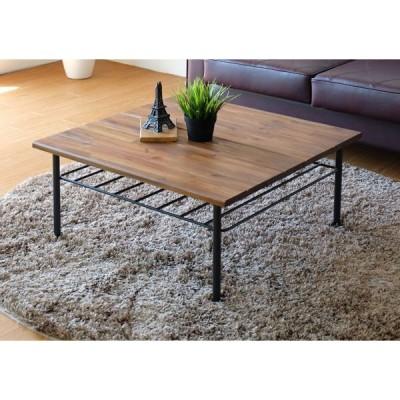 アカシア無垢材とアイアンのオシャレでかわいいセンターテーブル、