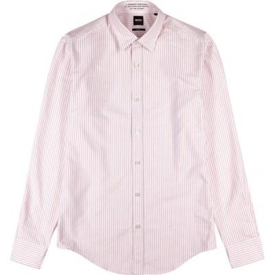 ヒューゴ ボス BOSS メンズ シャツ トップス Giamma striped cotton-blend shirt Pink
