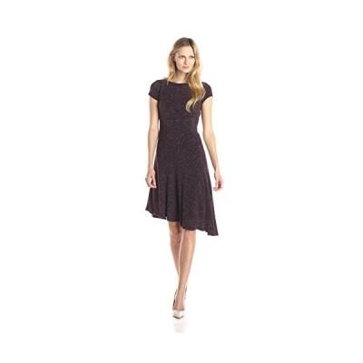 Ellen Tracy レディース キャップ スリーブ Asymmetric Hem Flare ドレス, Port, 4(海外取寄せ品)