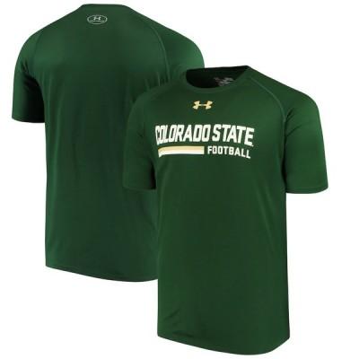 """メンズ Tシャツ """"Colorado State Rams"""" Under Armour Football Sideline Tech Performance T-Shirt - Green"""