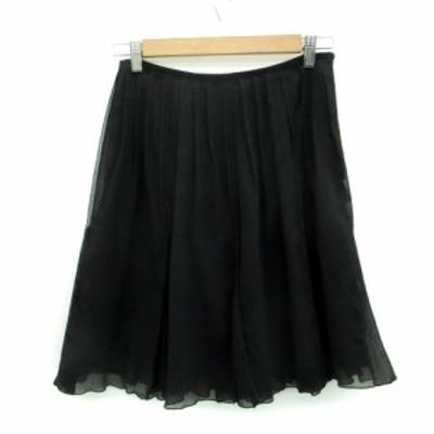 【中古】エフデ ef-de スカート プリーツ ひざ丈 9 ブラック 黒 /MS13 レディース