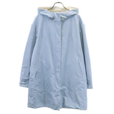 ドゥクラッセ 中綿 コート XL 水色/白 DoCLASSE フード レディース 古着 201218