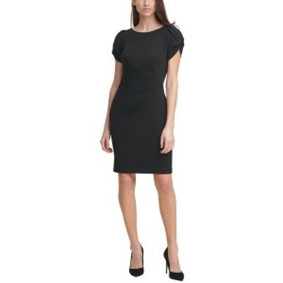 カールラガーフェルド レディース ワンピース トップス Scuba Crepe Pleated-Side Sheath Dress Black