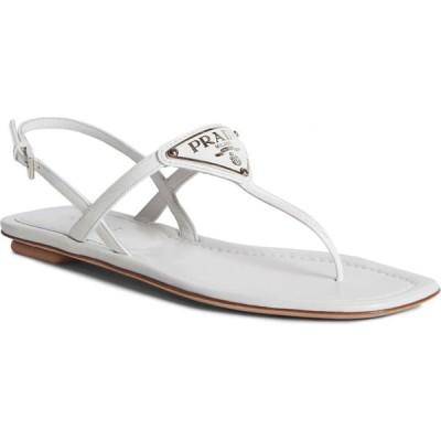プラダ PRADA レディース サンダル・ミュール シューズ・靴 Triangle Logo Sandal White