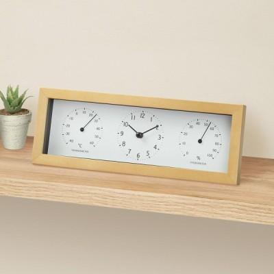 静音秒針 温湿度計付き 置き掛け兼用時計(トレオイユSWTH-NA) ニトリ 『玄関先迄納品』 『1年保証』