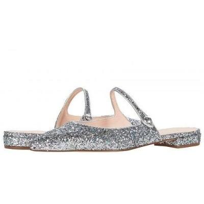J.Crew レディース 女性用 シューズ 靴 フラット Glitter Button Tab Harlech Mule - Mint Silver Glitter