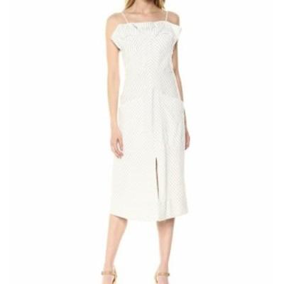 Rebecca Taylor レベッカテイラー ファッション ドレス Rebecca Taylor NEW White Women 4 Sleeveless Stripe Ruffle Sheath Dress