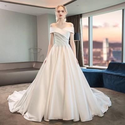 ウエディングドレス 安い 白 サテン ロングドレス 結婚式 花嫁 ブライダル ウエディングドレス aライン 二次会 パーティードレス 発表会 フォーマルドレス