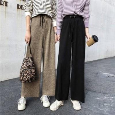 オルチャン 韓国 ファッション ワイドパンツ パンツ レディース ハイウエスト ゆったり ウエストゴム シンプル 無地 カジュアル