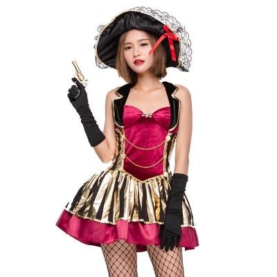 海賊衣装 女海賊 船長装 マスター レディース 3点セット ワンピース+ハット+手袋 女性 仮装 大人 仮装大会 セクシー ハロウィン 宴会芸仮ハロウィン海賊コスチュームHalloween★ハロウィン
