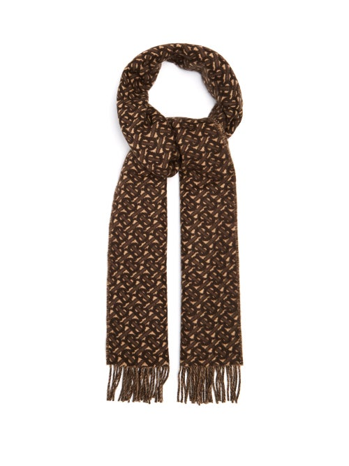 Burberry - Tb-jacquard Reversible Cashmere-twill Scarf - Mens - Brown