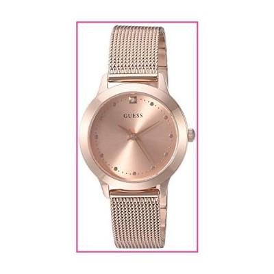 GUES Rose Gold-Tone Stainless Steel Bracelet Watch with Black Genuine Diamond Dial. Color: Gold-Tone (Model: U1197L6)並行輸入品