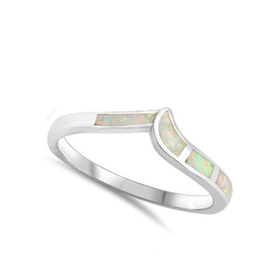 White Simulated Opal Chevron Pointed V Midi Ring .925 Sterling Silver