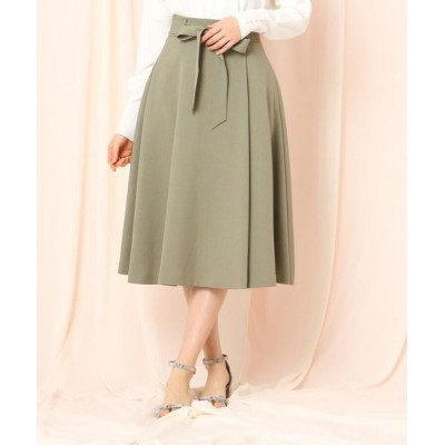 Couture Brooch/クチュールブローチ 【WEB限定(LL)サイズあり/洗える】ベルテッドフレアリネンライクミモレスカート オリーブグリーン(026) 36(S)