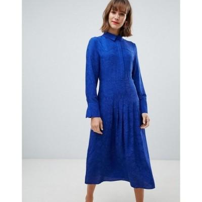 マンゴ レディース ワンピース トップス Mango snake print midi dress in blue Blue