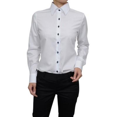 レディースシャツ ブラウス 長袖 ホワイト 白 ワイシャツ オフィス ビジネス ワイドカラー 日本製 ナチュラルフィット トップス 形態安定 大きいサイズ おしゃれ