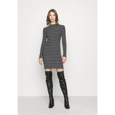 エブンアンドオッド ワンピース レディース トップス Rushed edges mini high neck long sleeves dress - Shift dress - black/ white