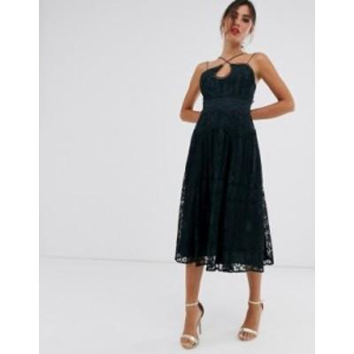 エイソス レディース ワンピース トップス ASOS DESIGN cami strap midi prom dress in lace with circle trims Deep navy