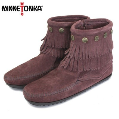 sale セール MINNETONKA(ミネトンカ) Double Fringe Side Zip Boot(ダブルフリンジサイドジップブーツ) #698R RAISIN レディース MT409