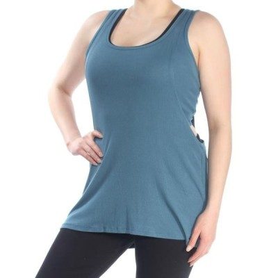 レディース 衣類 トップス DKNY Womens Blue Ribbed Tank Sleeveless Scoop Neck Active Wear Top Size: XL ブラウス&シャツ
