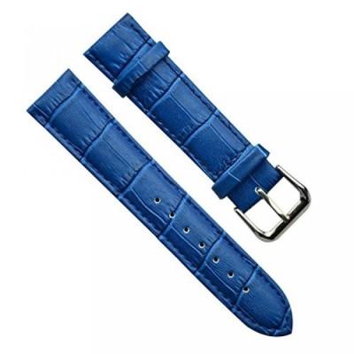 腕時計、アクセサリー カシオ 22mm Men's Vintage Regular Replacement Genuine Leather Silver Buckle Watch Strap/Watch Band (Bamboo Grain Leather/Blue)