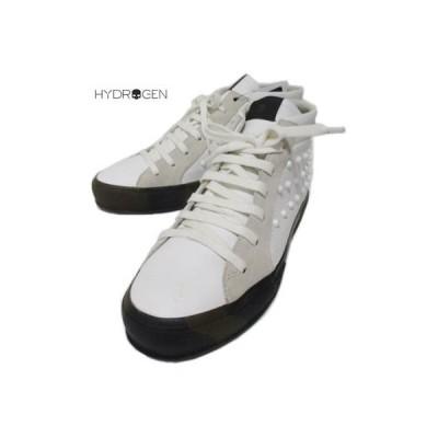 ハイドロゲン HYDROGEN メンズ 靴  タン部分ロゴ刺繍/スタッズ付き/ソールカモ柄ハイカットスニーカー  173712 001 (R73440) WA15A