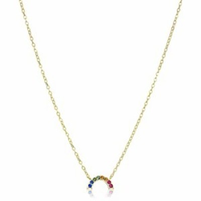 """18K Yellow Gold Plated Sterling Silver Swarovski Crystal Rainbow Color Pendant Necklace, 16"""" + 2"""""""